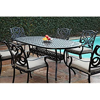Charming This Item CBM Outdoor Cast Aluminum Patio Furniture 7 Pc Dining Set G  CBM1290