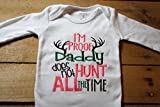Embroidered Bodysuit with I'm Proof Daddy does not Hunt all the Time Baby Handpicked for Earth