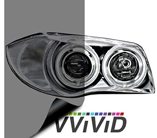 "VViViD Air-Tint Smoke Black Gloss Vinyl Headlight Foglight Transparent Tint Wrap Self-Adhesive (16"" x 48"", 2-roll Pack)"