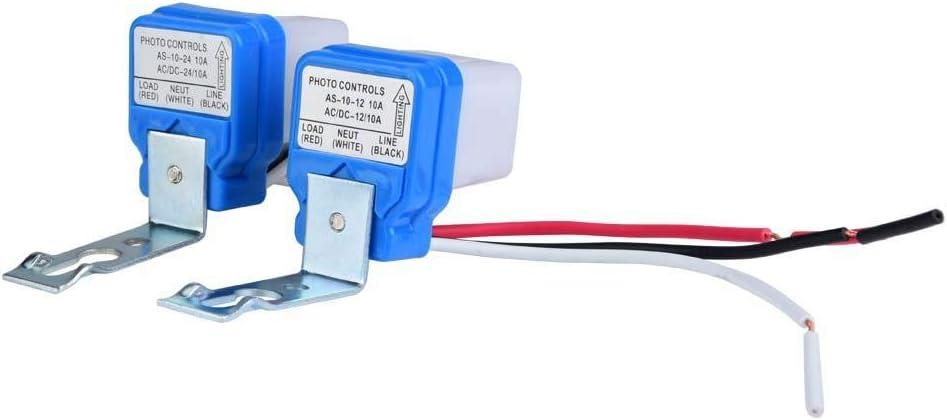 Luz de Calle Ajustable Fotocélula Photoswitch Sensor Inteligente Interruptor de Control de Luz Automático Automático Encendido / Apagado Interruptor Automático Sensor Ca 12v / 24v / 110v 10a(24V)
