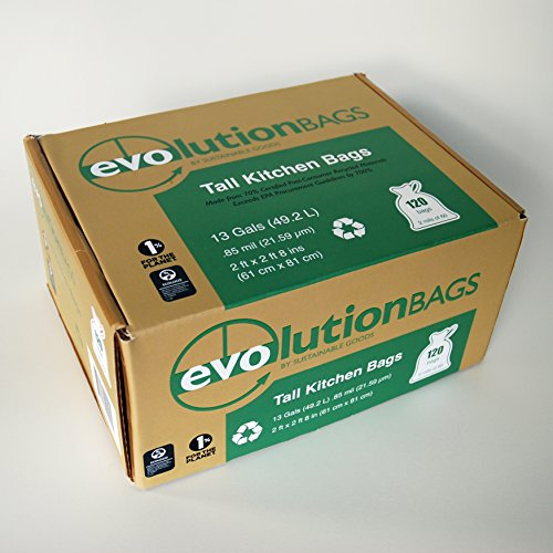 - Evolution Trash Bags: Tall Kitchen Trash Bag, 120 Bags/Box, Made with 70% Certified PCR Material
