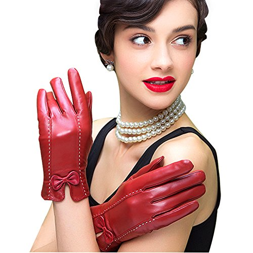 Edith qi Womens Genuine Leather Gloves,Nappa Touchscreen Texting Driving Warm Lining with -