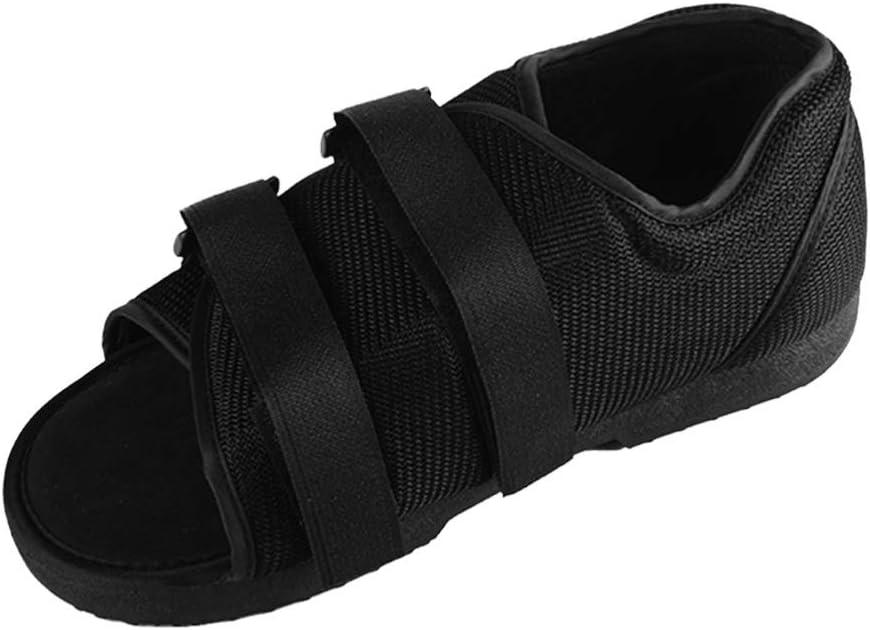 Artibetter zapato postoperatorio bota médica para caminar con correa ajustable después de la lesión sandalia quirúrgica moldeada del pie punta cuadrada soporte ortopédico para hueso roto (mm negro)