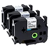 3 Pack Compatible Brother P-touch Label Tape Replacement TZe-251 TZe251 24mm 1 Inches Black on White Standard Laminated Tape