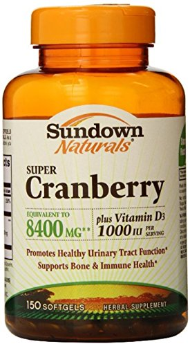 Sundown Naturals Super Cranberry 8400 mg Plus Vitamin D3 1000 IU Softgels 150 ea (Pack of 6) by Sundown
