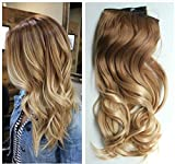 extensiones de cabello natural - 17 Inches 120grams Thick One Piece Half Head Wavy Curly Ombre Clip in Hair Extensions (Col. Light brown/sandy blonde) DL
