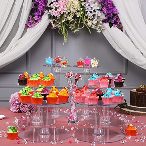Tableclothsfactory Lovely 7 Tier HEAVY DUTY Acrylic Crystal Glass Clear Cake Dessert Decorating Stand For Birthday Xmas Party Wedding (Stand Colored Glass Cake)