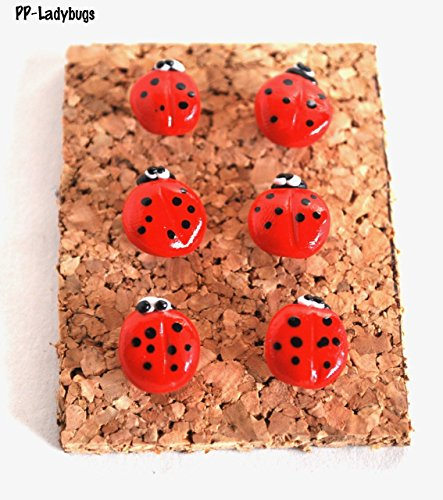 Ladybug Large Pushpins for Kitchen Corkboards and Bulletin Boards Handmade (Pins Lady Bug Push)