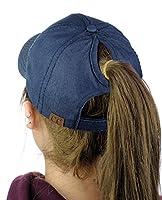 C.C Ponycap Messy High Bun Ponytail Adjustable Cotton Baseball Cap Hat