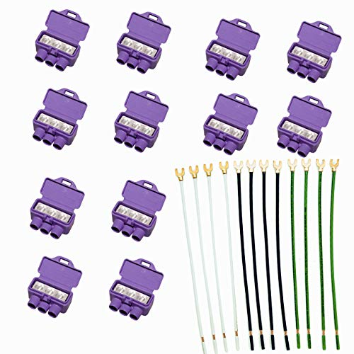 3-Port AlumiConn Connector with Stranded Pigtails, kit by DoodleYolk Inc 12-Pack Aluminum to Cooper UL listed Lug includes Color Coded 12-Gauge Wire - Makes connections with aluminum conductors safe -