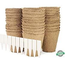 Large Peat Pots | Plant Starters | Vegetable & Tomato Seed Starter Kit - Organic Biodegradable Pots 100% Eco-Friendly Enhance Aeration | BONUS 10 Plastic Plant Markers – Bulk 30 Pack Set, 4""