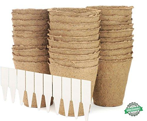 "Large Peat Pots | Plant Starters | Vegetable & Tomato Seed Starter Kit - Organic Biodegradable Pots 100% Eco-Friendly Enhance Aeration | BONUS 10 Plastic Plant Markers – Bulk 30 Pack Set, 4"" (Set Marker Plant)"