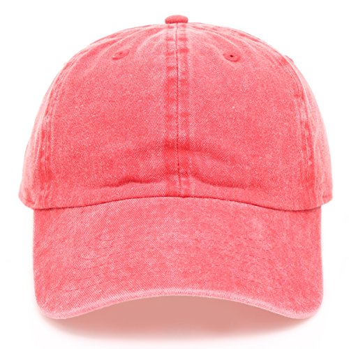 MIRMARU Low Profile Vintage Washed Pigment Dyed 100% Cotton Adjustable Baseball Cap Hat.(RED)
