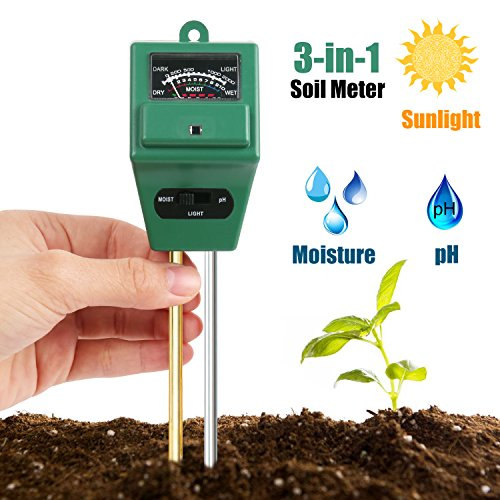 3 in 1 Soil Tester Moisture Meter, Light and PH acidity Tester, Plant Tester for Garden, Farm, Lawn, Indoor & Outdoor (No Battery needed) Easy Read Indicator (Stone 3 Way)