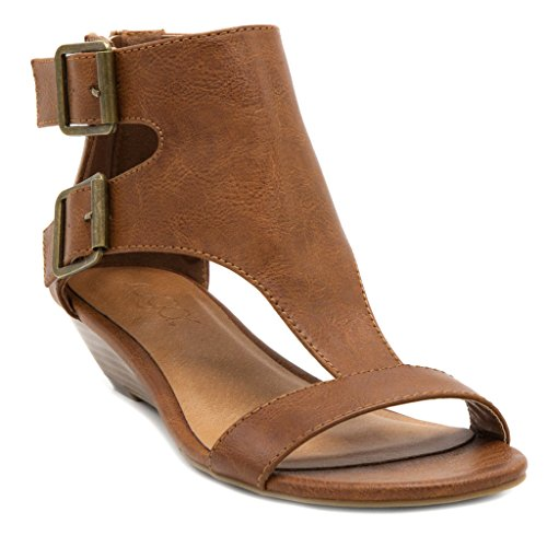 Sugar Women's Wigout Demi Wedge Sandal 8 Burnished Cognac Burnished Cognac