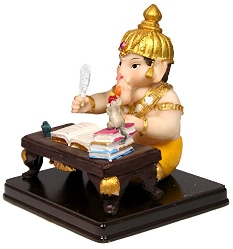 krishna culture cute baby ganesh at writing desk statue 5 import
