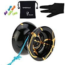 Original Magicyoyo N11 Alloy Unresponsive Yo-Yos Ball with Pouch Glove 5 Strings Pro Toy Present, Black with Gold