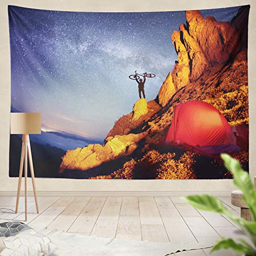 threetothree Tapestry Bike Adventure Mountains Times Sports Mountain Tourism Industry Hanging Tapestries 60 x 80 inch Wall Hanging Decor for Bedroom Livingroom Dorm