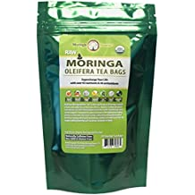 USDA Organic Moringa Superfood Tea-30 Teabags, 100% Pure, Raw, Potent, All Natural, Energy Boosting, Non-GMO. Rich in Nutrients, Amino Acids, Anti-inflammatories, Antioxidants and Vegetable Proteins.