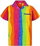 V.H.O. Funky Hawaiian Shirt, Shortsleeve, Rainbow Vertical, Multicoloured, L