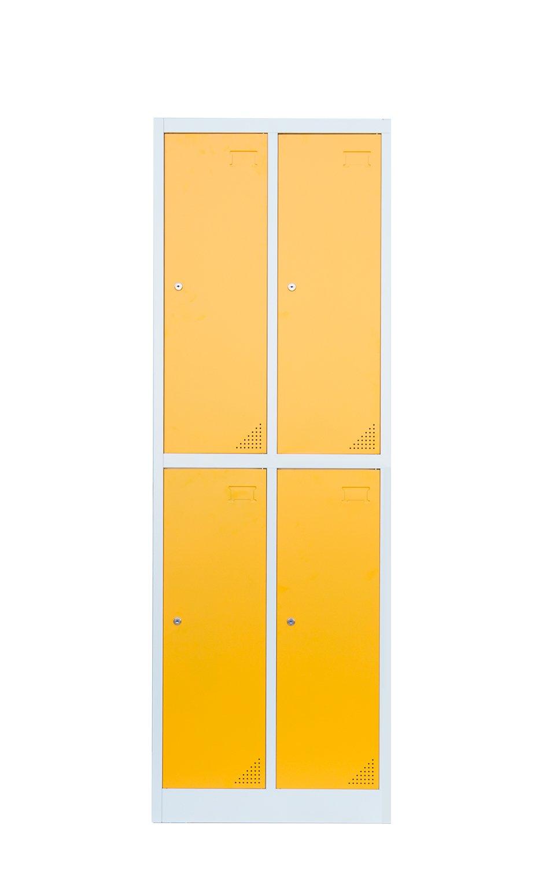 Stahl-Kleiderschrank Garderobenschrank Fä cherschrank, 4 Fä cher Spind gelb 567222 Lüllmann