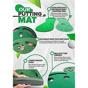 Premium Golf Putting Green & Indoor Mat 9'x3' (Designed By Shaun Webb, PGA Pro & Golf Digest's Top Teacher) Premium Backing, No Creases, Deeper Holes, Thicker & Wider Surface