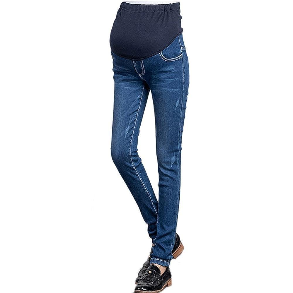 Klorim Women's Winter Fleece Lined Fit Belly Stretch Maternity Jeans
