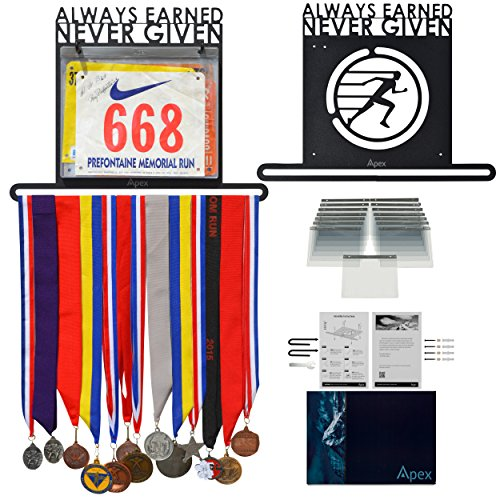 Apex Medal Hanger Display Holder and Bib Organizer Rack for Sports, Races, Running Marathons, Gymnastics Awards & Ribbons |15 FREE BIB SLEEVES | Heavy Duty| Wall-Mounted | Extra-Long | Stylish - Apex Frame