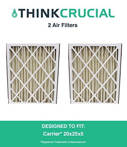 2PK Carrier MF2025 & M8-1056 Pleated Furnace Air Filter 20x25x5 MERV 8, Designed & Engineered by Crucial Air