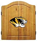 Missouri Tigers Mizzou Dart Board Cabinet & Bristle Dartboard Set