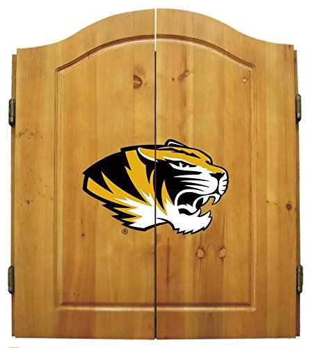 Missouri Tigers Mizzou Dart Board Cabinet & Bristle Dartboard Set by Team Bar Stools