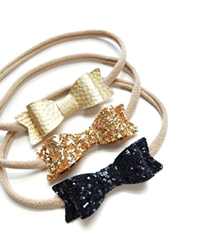 Baby bows and headbands - Soft faux leather and glitter sparkly Baby bows - Soft and stretchy nylon headbands for newborn to toddler girls (Gold and Black)