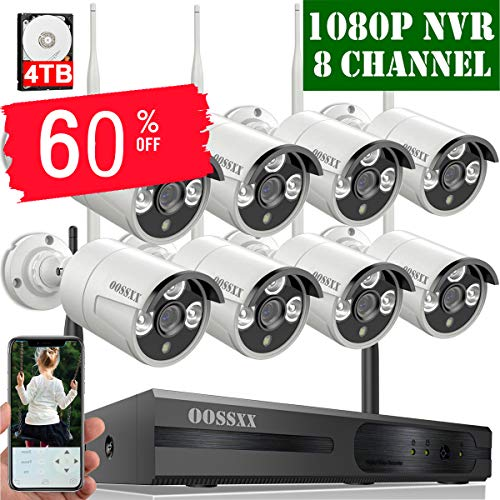 【4TB HDD Pre-Install 】 OOSSXX 8-Channel HD 1080P Outdoor Wireless Security Camera System,8Pcs 1080P 2.0 Megapixel Wireless Indoor/Outdoor IR Bullet IP Cameras,P2P,App, HDMI Cord & 4TB Hard Drive