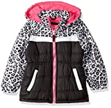 Pink Platinum Little Girls' Colorblock Animal Print Puffer, Black, 5/6