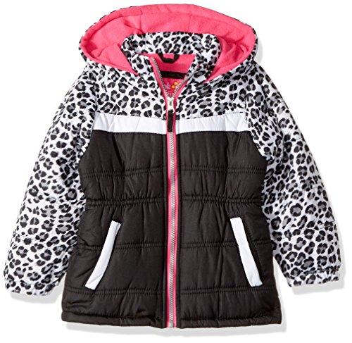 Pink Platinum Little Girls' Colorblock Animal Print Puffer, Black, - Girls Coat Puffer