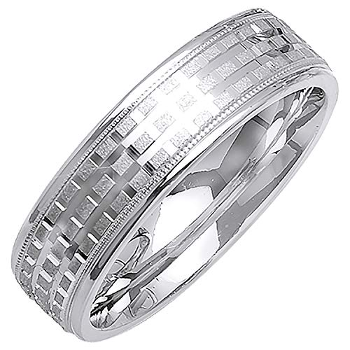 (Platinum Checkers Pattern Men's Comfort Fit Wedding Band (6mm) Size-9.5c1 )