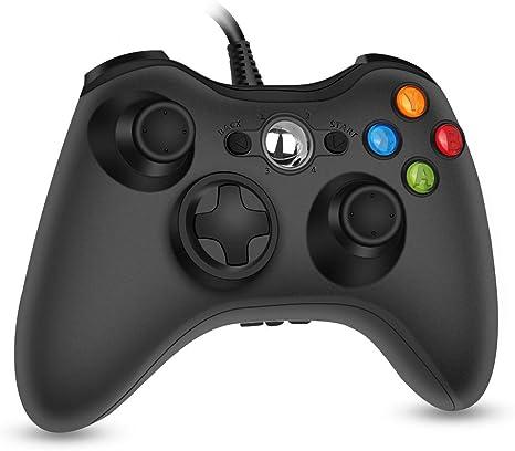 RegeMoudal Xbox 360 PC Game - Controlador con cable para Microsoft Xbox 360 y Windows PC (Windows 10/8.1/8/7) con doble vibración y ergonómico controlador de juego con cable: Amazon.es: Informática