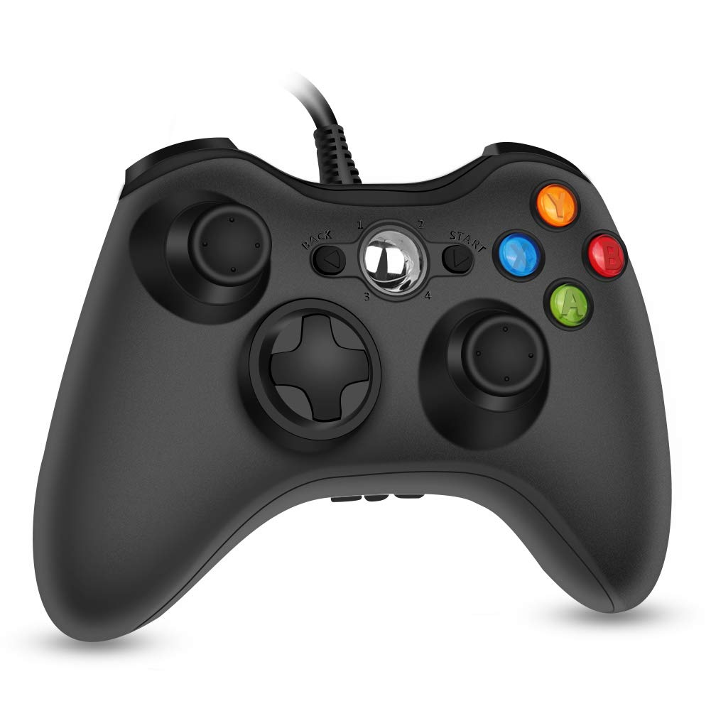 RegeMoudal Wired Controller for Microsoft Xbox 360 and Windows PC (Windows 10/8.1/8/7) with Dual Vibration and Ergonomic Wired Game Controller (Black)