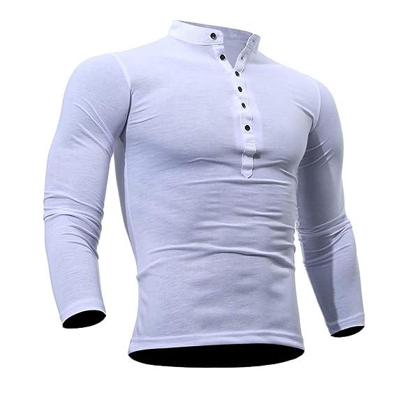 Bestow Hombres Primavera Otoño Camiseta de Algodón Hombres Camiseta de Color Sólido Larga Top Casual de
