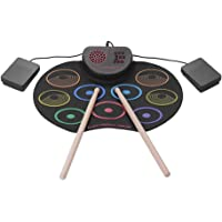 Muslady Tambor Electrónico Portátil USB Kit de Almohadilla de Tambor Enrollable 9 Drumpads Altavoz Incorporado Batería…