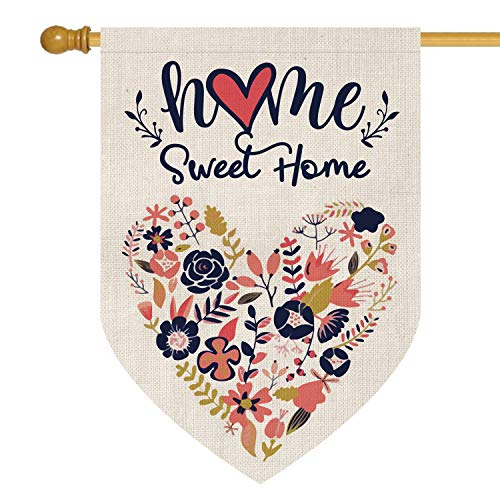 AVOIN Home Sweet Home House Flag Vertical Double Sided, Love Heart Navy Blue Flower Floral Burlap Flag Yard Outdoor Decoration 28 x 40 Inch