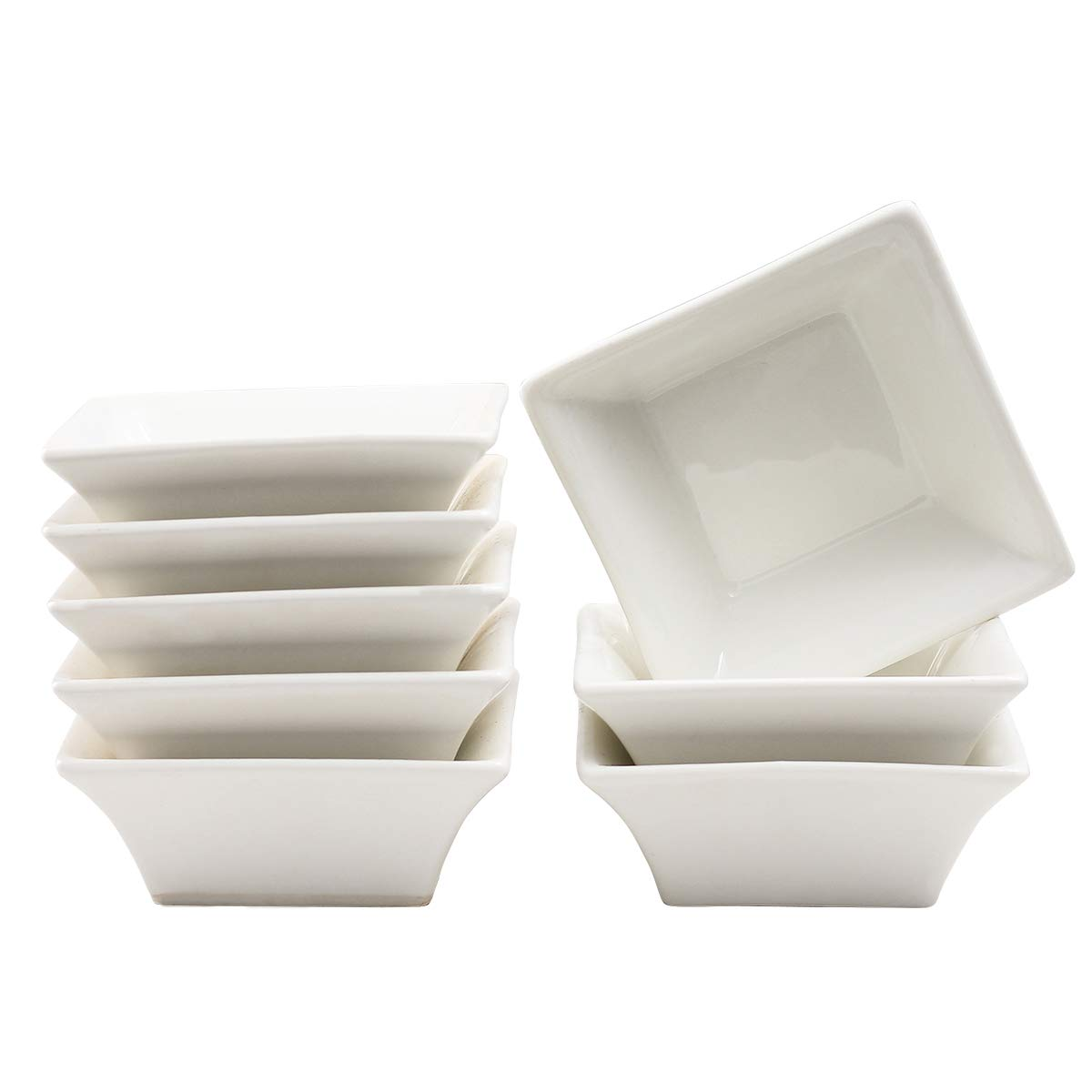 5oz Ramekins White Small Square Dishes,Dipping Bowls Stackable Porcelain Ramekins Set of 8 XUFENG by XUFENG