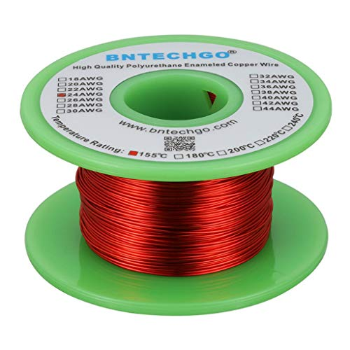 BNTECHGO 24 AWG Magnet Wire Enameled Copper Wire Solder able Red 4 oz 0.0221 Diameter Temperature Rating 155℃