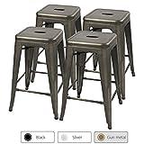 Rustic Outdoor Furniture Furmax 24'' Metal Stools High Backless Silver Metal Indoor-Outdoor Counter Height Stackable Bar Stools Gun Metal(Set of 4)