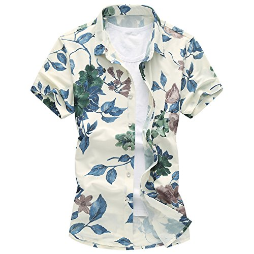 [スゴフィ]SGFY  メンズ ポロシャツ 和柄 半袖 花柄 カジュアル シャツ ゴルフ ウェア バラ ローズ プリント 椿