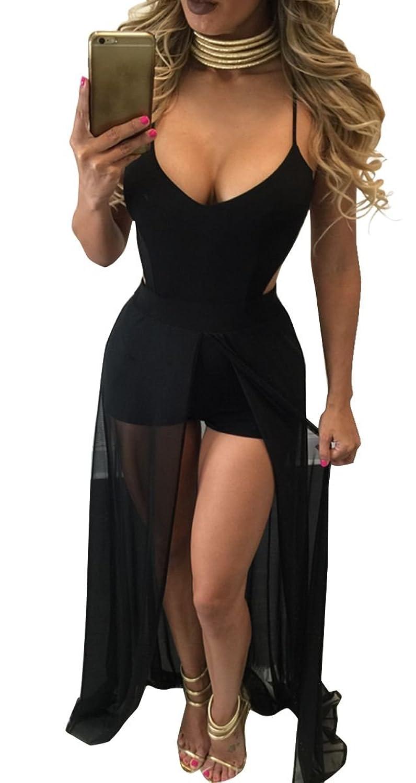 FANCYINN Women Sexy Spaghetti Strap Backless Bodycon Split Maxi Long Dress