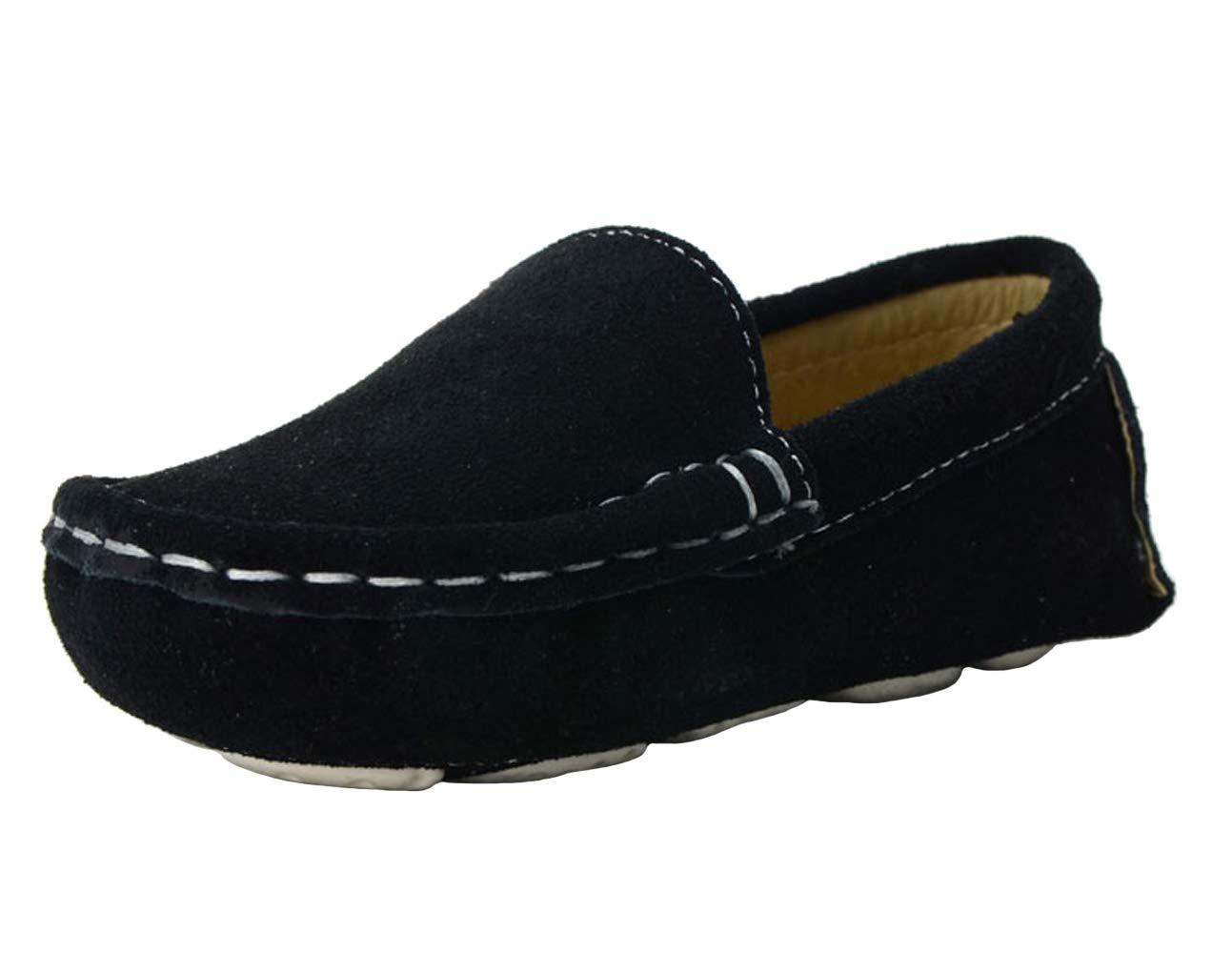 WUIWUIYU Boys' Girls' Suede Slip-On Loafers Flats Moccasins Comfort Casual Shoes Black Size 7 M by WUIWUIYU (Image #1)