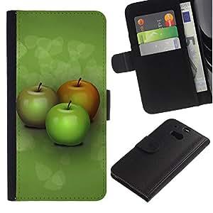 Planetar® Modelo colorido cuero carpeta tirón caso cubierta piel Holster Funda protección Para HTC One M8 ( Three apples )
