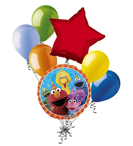 7 pc Sesame Street Fun Balloon Bouquet Party Decoration Elmo Cookie Birthday