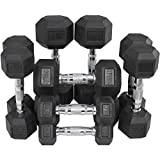 Rubber Coated Hex Dumbbell Weights Training Set 5 10 15 20 25 lb Titan Fitness